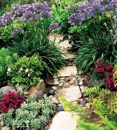 Appealing Path-Cut stone, river rock, gravel, and sand are the main ingredients in this appealing path. Though it looks random and rustic, it follows a definite plan.