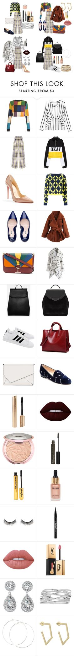 """One Pant"" by lolamarcon on Polyvore featuring House of Holland, ADAM, Christian Louboutin, Versace, Chicwish, Tila March, CHARLES & KEITH, ALDO, adidas and Kendall + Kylie"