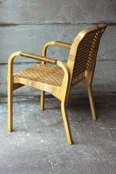 ARMCHAIR 45 (CANED), ALVAR AALTO, ARTEK  A rare modification on the chair 45 by Alvar aalto, with caned seat and back.  http://abelsloane1934.com/