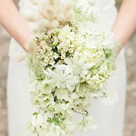 Cascading Bridal Bouquets with hydrangea | Cascading White Wildflower Bouquet : Brides