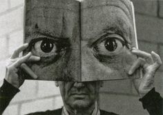 """""""Inge Morath, Charles Eames posing with a Mask of Picasso's Eyes, 1959 """""""