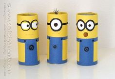 Cardboard Minions | Community Post: 22 Cool Kids Crafts You Can Make From Toilet Paper Tubes