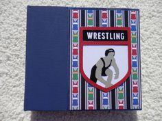 6x6 Premade Wrestling Scrapbook Album in Blue and Red