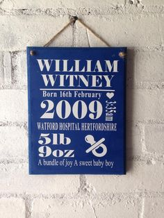 Display your little ones birth details in a unique way.As this item is completly personalised you will need to add the details you would like to be on the plaque to the personalise box on the right.This one is available in a range of sizes and colours. We also have a girls version too.Any questions please message me