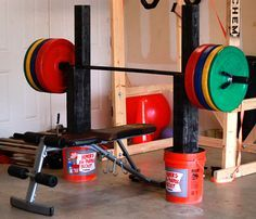What You Need to Know Cost: $31 Time: 2 hours Difficulty: Medium Equipment for Squatting, Benching, and Pressing Material Needed: 3, 5 gallon buckets 3, 50lb. bags of Quikcrete (fast setting) 2, 8f...