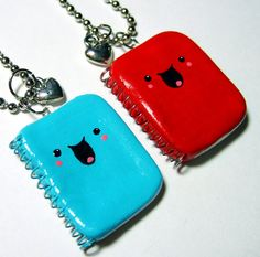 BFF Best Friends Necklaces Kawaii Happy Notebooks - READY to SHIP - Polymer Clay Jewelry - by The Happy Acorn via Etsy