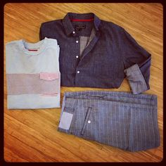 Case of the blues: #AHBladeAndBlue chambray button up paired with #slvdr pocket tee & shorts