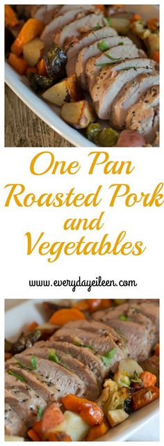 One pan roasted pork and vegetables is a quick and easy meal to prepare. It is ready in under 30 minutes  Can also b prepared in the slow cooker #RealFlavorRealFast #ad