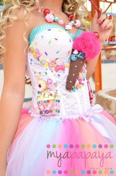 Katy Perry Costume Candyland Corset and Tutu Set Dress cute celeb dressup funny burlesque cute katyperry sexy lingerie underwear food dress corset costume