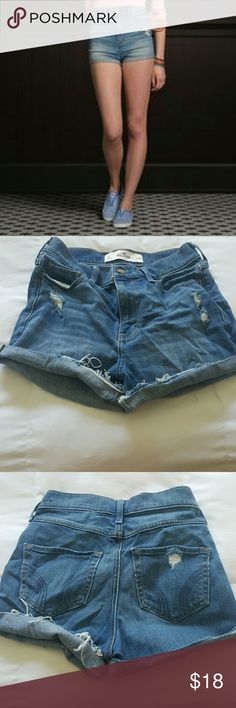 High rise denim shorts Hollister high rise shorts. Distressed denim. Super comfortable material. These are brand new. I pulled tags off and washed them but never wore ... Hollister Shorts Jean Shorts