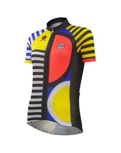 Also available in matching Pop 3 cycling bibs for women. Pop 3 cycling jersey designed by artist Katherine Hall. Cool Bike Accessories, Cycling Jerseys, Race Day, Cycling Outfit, Mountain Biking, Motorcycle Jacket, Long Sleeve, Inspired, How To Wear