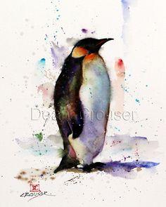 PENGUIN Watercolor Print by Dean Crouser by DeanCrouserArt on Etsy
