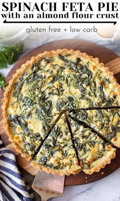 gluten free breakfasts A simple, Greek inspired Spinach Feta Pie made with an almond flour crust - both the filling and crust are easy to make, made with only 6 ingredients altog Almond Flour Pie Crust, Baking With Almond Flour, Almond Flour Recipes, Almond Meal, Gluten Free Recipes, Diet Recipes, Vegetarian Recipes, Cooking Recipes, Healthy Recipes