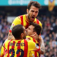 Cesc Fabregas, Leo Messi and Dani Alves  Fc Barcelona