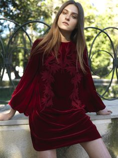 PR18 21 Blouson-sleeve Mini Velvet Shift Dress Fall 2018, Beautiful Eyes, Ready To Wear, Bell Sleeve Top, Velvet, Gowns, Lace, How To Wear, Collection