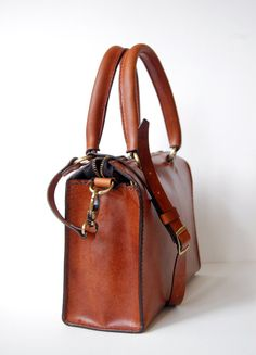 Handstitched Cognac Leather Handbag 12in door OrigamiLeather, $235.00
