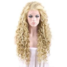ANDI ROSE Fashion Women Girls Wavy Curly Synthetic Full Hair Extension Cosplay Ladies Wig (22 Inch, Gold) from Amazon