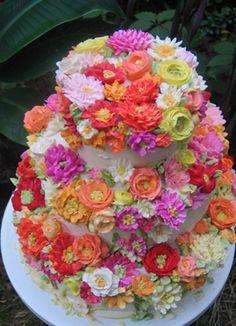 Pretty buttercream floral cake