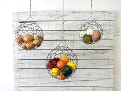 Hanging Wire Fruit or Vegetable Sphere Basket Set by CharestStudios on Etsy https://www.etsy.com/listing/163621247/hanging-wire-fruit-or-vegetable-sphere