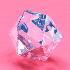 "angular geometry: ""Sparkle"" icosaedro de cristal girando rosa pink"