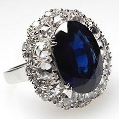 NATURAL DEEP BLUE SAPPHIRE & DIAMOND COCKTAIL STYLE ENGAGEMENT RING SOLID 18K WHITE GOLD