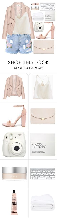 """girlfriend material"" by charli-oakeby ❤ liked on Polyvore featuring Zizzi, Steve Madden, Mansur Gavriel, NARS Cosmetics, RMK, Aesop, Frette and pastel"