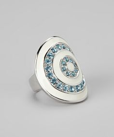 Take a look at this Blue Sparkle & Silver Concentric Circle Ring by Amabel Designs on #zulily today!