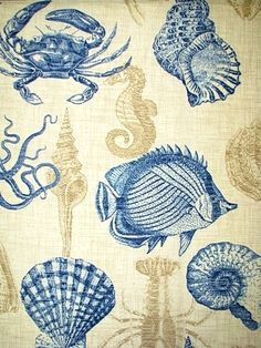 "Sealife Marine Beach & sealife Print. All weather fabric resists mildew, aging and fading. Perfect for outdoor seat cushions, pillows or upholstery. 25"" up the roll repeat. 100% poly. 54"" wide. Richloom fabric."
