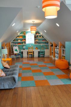 36 Cozy Attic Playroom Design Ideas, Your Kids are Sure To Love It - Craft and Home Ideas Attic Playroom, Playroom Organization, Playroom Design, Attic Design, Attic Rooms, Attic Spaces, Attic Bathroom, Playroom Ideas, Attic Office