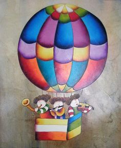 """MUSICAL OIL PAINTING BALLOONS -  MUSICAL OIL PAINTING OF CHILDREN MUSICIANS IN BALLOON BY J. ROYBAL 23"""" x 27"""""""