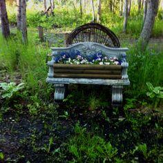 park bench planter garden pinterest planters and gardens