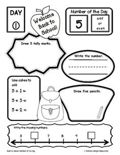 Number of the Day {Going Back to School} First Grade Math