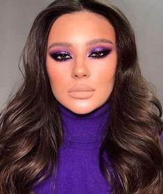 Purple Makeup Looks, Glam Makeup Look, Makeup Eye Looks, Creative Makeup Looks, Cute Makeup, Gorgeous Makeup, Pretty Makeup, Skin Makeup, Purple Eye Makeup