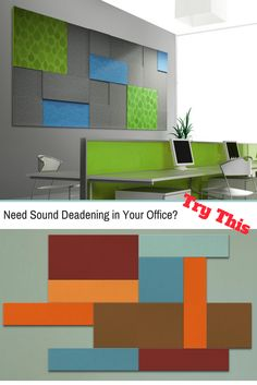 These acoustic panels provide sound deadening and sound absortion for all office environments. You can customize the size, thickness, & design you want. We can also print a picture or logo on the fabric. This is functional art!