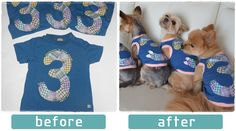 Applicants for the 3rd contest |   By: Choko,  Title: Remaking kid T-shirt to doggie wear!  |Click image to find the result. 第3回作品コンテストの応募作品| 作者:ちょこ さん 題名:子供Tシャツからワンコ服へ| 画像をクリックするとコンテスト結果がご覧いただけます◎ #handmade #remake #contest