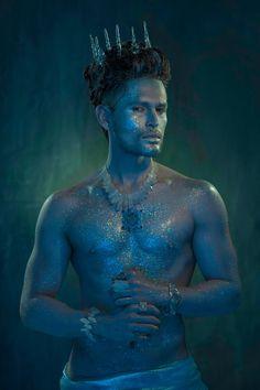 Poseidon: eternal god of the oceans - Styling on Behance Male Makeup, Makeup Art, Merman Costume, Male Fairy, Male Mermaid, Fantasy Photography, Midsummer Nights Dream, Merfolk, Mermaid Makeup