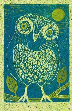 Athene Noctua by Elizabeth Fiedel Hand pulled Traditional Printmaking