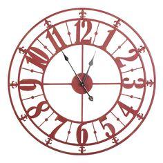 Metal wall clock Red