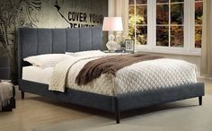 Alberto Platform Queen Bed Frame - Grey Linen . . . #furniture #homedecor #interiordesign #design #decor #home #living #office #family #entertainment #luxury #affordable #sale #discount #freeshipping #canada #toronto #usa #america #fashion #design #bedroom #comfort #happy #style #rest #relax