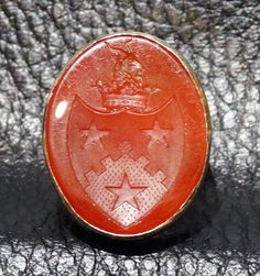 Antique Armorial Intaglio Seal Ring Carnelian by ElegantArtifacts, $3500.00