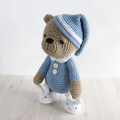 Sleepy Teddy in Pajamas and Bunny Slippers pattern by Kristi Tullus