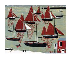 Melvyn Evans, The Whitstable Oyster Fleet, Linocut Linocut Prints, Art Prints, Block Prints, Royal College Of Art, Nautical Art, Art For Art Sake, Fishing Boats, Landscape Paintings, Landscapes