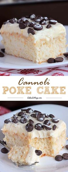 Do you like poke cakes? Try this white cake soaked in sweetened condensed milk and topped with an Ah-Mazing cannoli filling. Do you like poke cakes? Try this white cake soaked in sweetened condensed milk and topped with an Ah-Mazing cannoli filling. Poke Cakes, Poke Cake Recipes, Cupcake Cakes, Cupcakes, Frosting Recipes, Tolle Desserts, Köstliche Desserts, Dessert Recipes, Homemade Desserts