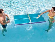 pool ping pong table - This pool ping pong table is sure to make your summer a splash. The Floating Waterproof Table Tennis allows two players to play ping pong while swi.