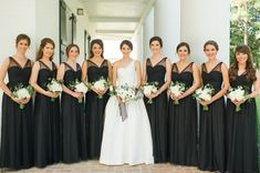 Wedding pictures with black bridesmaid dresses