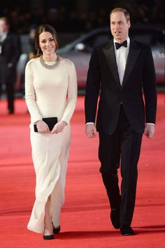 Mandela: Long Walk to Freedom, London – December 5 2013 // Kate Middleton // The Duchess of Cambridge wore a Roland Mouret gown and carried a Mulberry clutch to attend the premiere with Prince William.