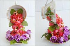 Bellart Atelier: Como fazer um arranjo com pires, xícara e flores artificiais.