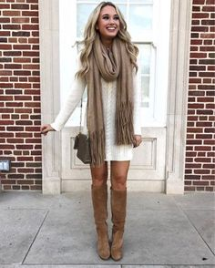 27 Perfect Women Thanksgiving Outfit in Autumn - Beautifus Cute Thanksgiving Outfits, Cute Fall Outfits, Casual Winter Outfits, Winter Dresses, Winter Clothes, Christmas Outfits, Casual Fall, Dresses With Boots Fall, Winter Outfits 2019