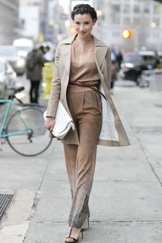 Lily Kwong's neutral jumpsuit is chic on any level - Street Style at New York Fashion Week #NYFW