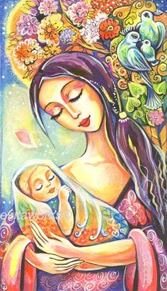 Nursery Art Maternity Mother and Child Baby Tree of Life Original Painting by Eva Campbell. $70.00, via Etsy.